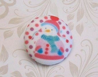 x 1 button 28mm fabric snowman snow pea pink ref A27
