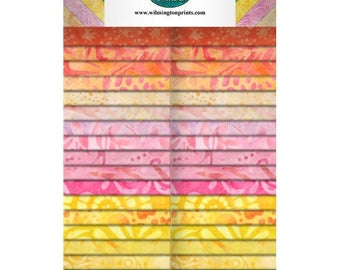 """Sweet and Sour Batiks - (40)  2.5"""" Strips (Crystals) - Wilmington Prints"""