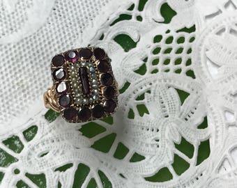 SALE!  Georgian Rhodolite Garnet & Seed Pearl Ring