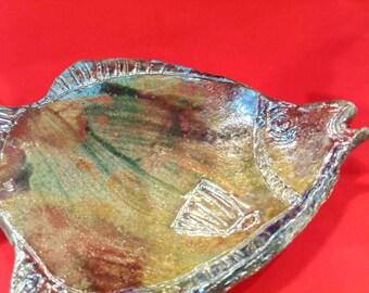 Raku platter fish