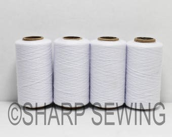 White - Spun Polyester Thread - Quilting Serger Sewing Thread 4 Tubes (1000 Yds each tube) 651