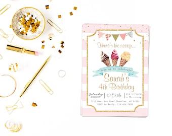 Glitter Ice-cream Invite_4,Cream Invitation, Ice Cream Birthday Invitation, Ice Cream Party Invitation,Ice Cream Cone, Party Invite