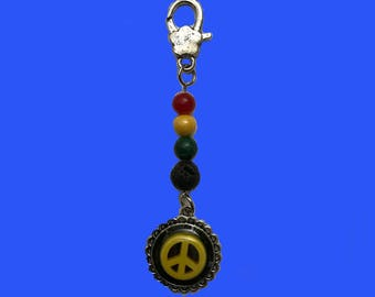 Rasta peace sign zipper charm