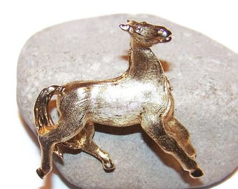 Vintage horse brooch, numbered brooch, Equestrian brooch