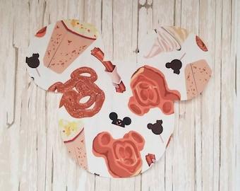 "HUGE 7""x8"" Disneyland Food Mickey Mouse Fabric Iron On Applique DIY No Sew, Dole Whip, Mickey Bars, Pretzel, Matching Shirts"