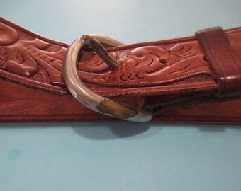 WESTERN COWBOY BELT,  Embossed Leather Belt, Embossed Cowboy Belt, Leather Cowboy Belt, Western Embossed Belt
