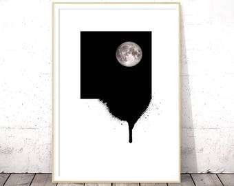 Full Moon, Black and White Prints, Minimalist Decor, Minimalist Art, Modern Minimalist, Wall Art Printable, Black and White Wall Art, Poster
