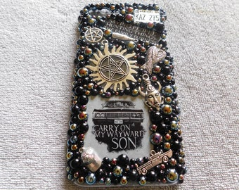 Iphone 7 plus case/Supernatural/Iphone 6 case/Iphone 7 case/supernatural phone case/jeweled phone case/bling case/black phone case/cell case