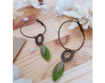 HERBAL ▷ bronze colored metal, enamel & bronze beads hoop earrings green olive - khaki!