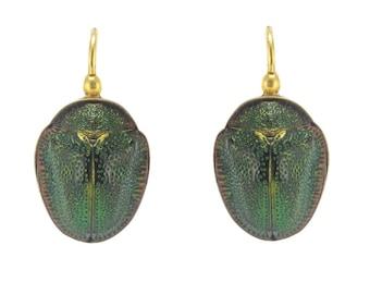 Boucles d'oreilles Scarabées anciennes Or jaune 18K Antique