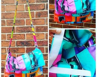 Handmade brightly coloured petrol pump print washable messenger bag