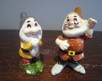 Walt Disney Productions Bashful & Doc Ceramic Figurines