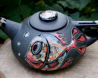 Gift for women Birthday gift for her  Ceramic teapot Fish Horoscope gift Hand painted teapots Retirement gifts Gift for fisherman Fish art