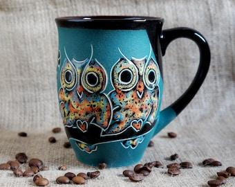 Large ceramic mug Coffee mug Owls Gift for sister birthday Mom mug Daughter gift Sister mug pottery Stoneware mug modern Special friend gift