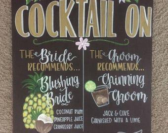 Handpainted Rustic Wedding Signature Drink Wooden Bar Sign