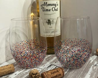 Fun multi color Confetti stemless wine glasses