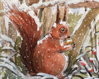 Red Squirrel in the Snow greetings card