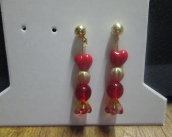 Nice pair of earring studs with 4 glass beads