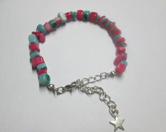 Beaded stone bracelet turquoise blue and pink
