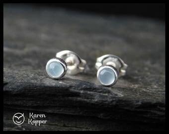 March birthstone earrings - Natural aquamarine gemstone earrings, 3 mm, in a sterling silver setting, sleepers earrings. 193
