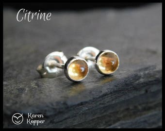 November birthstone earrings - Yellow Citrine sterling silver earrings, 4mm. Stud earrings, posts earrings. Ready to ship. 117