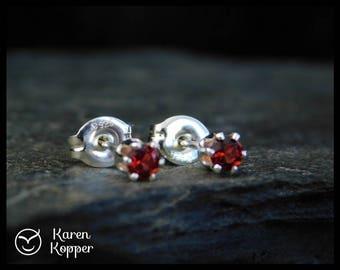 January birthstone earrings - Natural red almandine garnet gemstone earrings, 3 mm, sterling silver 0.925, January birthstone, ear stud 103