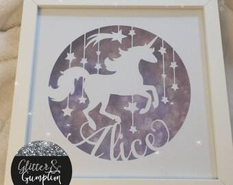 Personalised name unicorn box framed diamond dust background