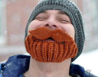 Handknitted Beard Hat with Mustache Crochet Hat Knitted Winter Sky Outdoor Hat and Face Warmer with moustache Funny Hat husband gift