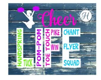 Cheer leader Life  SVC DFx Cut file  Cricut explore file  sports t-shirt logo decal scrapbook vinyl decal wood sign t shirt cricut cameo