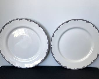 Set of 2 Buffalo China Large Dinner Plates with Gray Scallop Trim