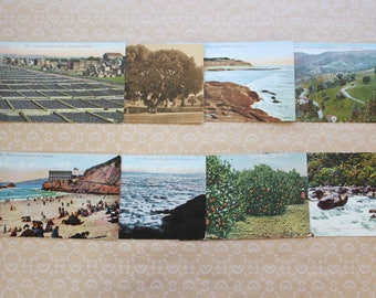 Antique Lot of Eight California Postcards Unused Vintage Ephemera