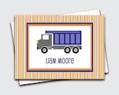 Dump Truck Calling Cards for Kids / Truck Gift Tags / Personalized Gift Enclosure Card / Transportation Birthday Gift Card (Item#1702-031CC)