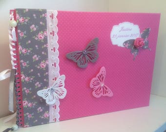 Album or guestbook baby baptism, birth or shower Fuchsia baby and flowers to order