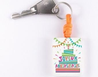 """Orange keychain """"Happy birthday"""""""
