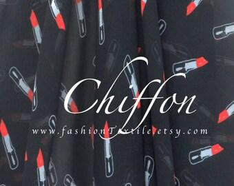 Lipsticks fabric black chiffon by the yard polyester