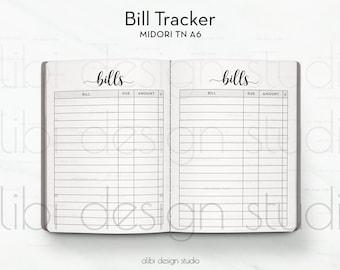 A6 TN, Bill Tracker, Bill Organizer, Travelers Notebook, Finance Planner, Midori Inserts, Traveler's Notebook A6, TN Inserts, Midori A6