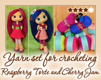 Yarn set for crocheting Raspberry Torte and Cherry Jam