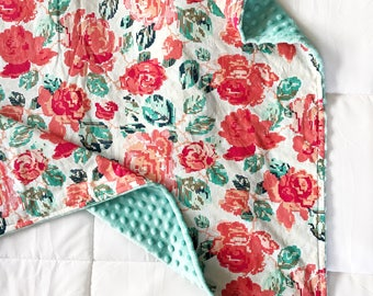 Floral Baby Blanket- Minky Baby Blanket- Baby Girl Blanket- Floral, coral, pink, turquoise, blue