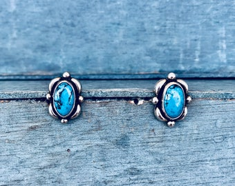 Mexico Turquoise Sterling Silver Post Stud Earrings 4g