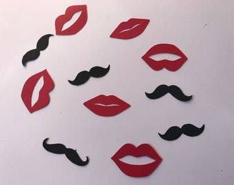 package of mustaches and lips table confetti