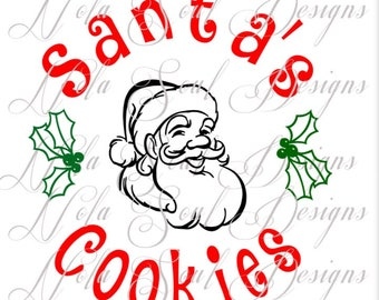 Santa's Cookie Plate SVG JPG Digital Download CUT or Print and Cut for Cricut sillouette