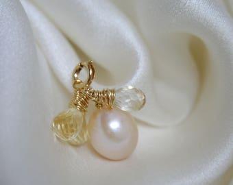 Pink Pearl Citrine Briolette pendant gold filled hand wrapped pink pearl with Citrine Briolette pendant gold Filled