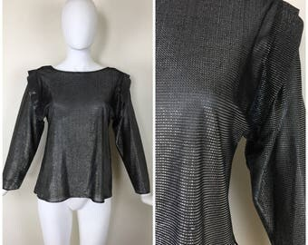 Vintage 1980s Womens Silver and Black Metallic Mesh Long Sleeve Pullover Semi Sheer Blouse | Size S