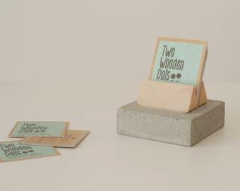 Concrete Card Holder, Handmade Card Stand, Business Desk Card Holder Cement Holder.