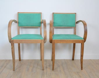 Pair of green bridge chairs, 50s, leatherette, design retro