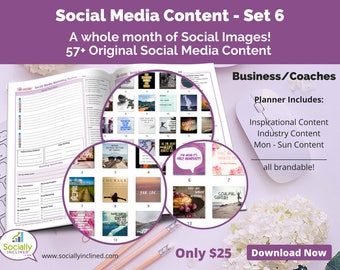 Social Media Images - Content General Business & Coaches (SET 6) -- 57+ original images, blank planner pages, checklists, tasks, and goals