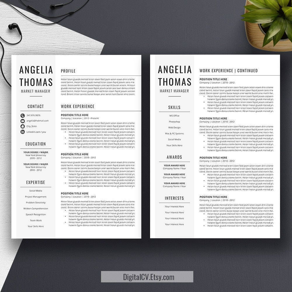 Resume Template Instant Download CV Template Cover Letter Word