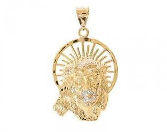 14K Yellow Gold Jesus Head Pendant