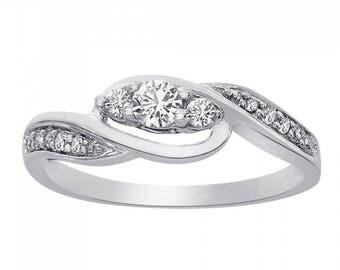 0.25 Carat Round Cut Diamond Ring 10K White Gold