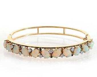 ON SALE 0.50 Carat Diamond 5.00 Carat Opal Vintage Hand Made Bracelet 14K Yellow Gold